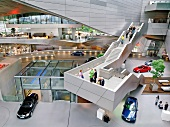 Elevated view of BMW Welt in transfer hall for new cars, Munich, Germany