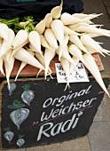 Fresh weichser radish on display at market stand