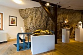 Limestone walls and rock sculptures in gallery, Kallmunz, Regensburg, Bavaria, Germany