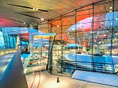 Colourful glass facade of BMW World in Munich, Germany