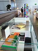 Books in showcase, BMW World, Munich, Germany