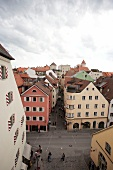 View of facades of building in Regensburg, Germany