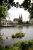 Boats moored in Danube river, Regensburg, Germany