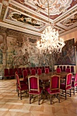 Large dining room with chandelier in St. Emmeram Castle in Regenburg, Germany
