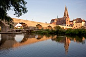 View of Stone Bridge over Danube river in Regensburg, Germany