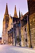 Exterior of Regensburg Cathedral at dusk, Regensburg, Bavaria, Germany