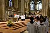 Choir singing for Sunday mass in Regensburg Cathedral, Germany