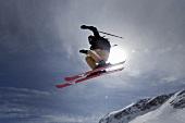 Skilaufen, Zugspitze, Skiläufer Sprung