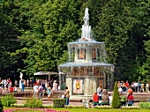Tourist around Peterhof Roman fountain in Saint Petersburg, Russia