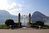 View of lake and mountains in Lugano, Ticino, Switzerland