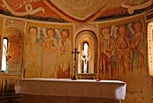 Interior with murals on wall of San Carlo Church in Ticino, Switzerland