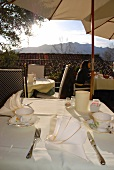 Table laid at Hotel Restaurant Villa Carona overlooking alpine, Tessin, Rostock, Germany