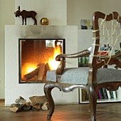 Fire place in a room of Hotel Haus Hirt, Austria