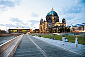 View of Berlin Cathedral and Palace Square at dusk in Berlin, Germany