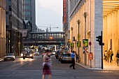 People walking on Friedrichstrasse Street, Berlin, Germany, blurred motion