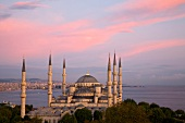 View of Sultan Ahmed Mosque at sunset, Istanbul, Turkey