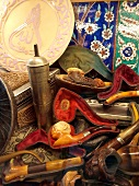 Close-up of different meerschaum pipes with cover at Grand Bazaar in Istanbul, Turkey