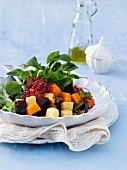 A lamb's lettuce, beetroot, pumpkin and almond salad