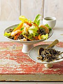 Wild rice with carrots and prawns