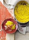 Safran risotto with carnaroli rice and salami