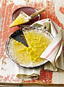Rice pudding tart with lemon flavour on plate