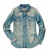 Damenmode, Jeanshemd, Oversized-Hemd im Used-Look