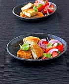 Breaded vegetable tofu with tomato salad