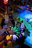 Overhead view of people at Disco Hohenhaustenne in Schladming, Styria, Austria