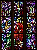 Close-up of stained glass windows of church in Graz, Styria, Austria