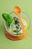 Yoghurt and mustard dressing with herbs