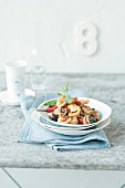 Orecchiette with braised chicken breast, chilli and olives
