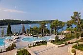 Elevated view of pool area of the Hotel Monte Mulini in Rovinj, Istria, Croatia
