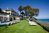 View of Luxury Hotel Ellerman House with garden and pool, Cape Town, South Africa