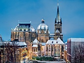View of Gothic choir hall and St. Nicholas Chapel at winter, Aachen, Germany