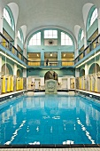 View of swimming pool in Art Nouveau, Elisabeth Halle, Aachen, Germany
