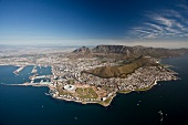 View of Cape Town with Table Mountain and Cape Town Stadium
