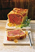 Venison terrine, sliced