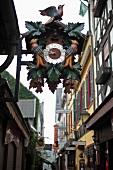 Close-up of cuckoo clock in Rudesheim, Hesse, Germany