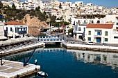 View of cityscape of Agios Nikolaos in Crete, Greece