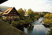 Schwarzwald: Gemeinde Forbach, Fluss, Ufer bewachsen, malerisch