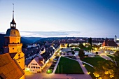 View of marketplace of Freudenstadt from rooftop at night in Black Forest, Germany