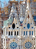 Construction of Sagrada Familia in Barcelona, Spain