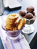 Brittle biscuits and chocolate biscuits