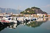 Moored boats at Marina of Denia, Alicante Province, Spain