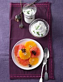 Star anise and grapefruit salad with a quark dip