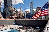 American flag and Ground Zero construction site in New York, USA