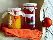 Mango jam and pomegranate jelly