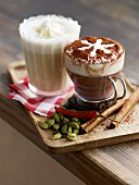 White hot chocolate and creamy spiced hot chocolate