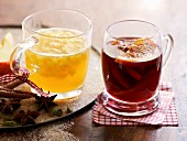 Apple punch and cranberry punch with elderberry