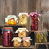 Vegetables preserved in jars